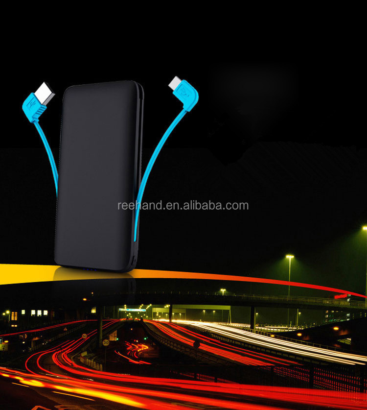 Built-in data lines dual outputs power banks 5000mah for smartphones