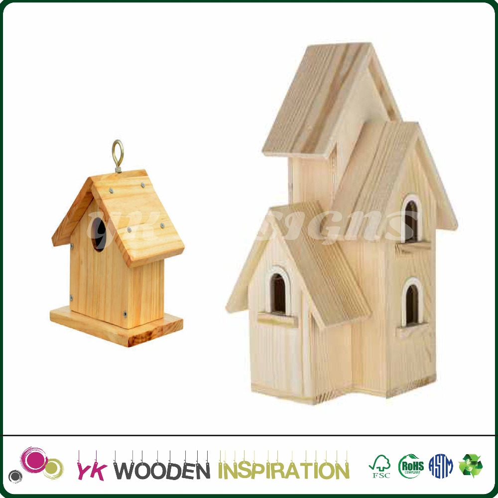 Wholesale Hot selling Light Wood Unfinished bird house
