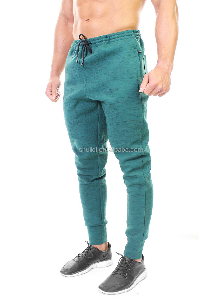 ThermaTech Flecked Bottoms tapered gym joggers pants/ 80% cotton/20%polyester jogger slim fit - Teal Green