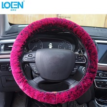Wholesale Soft Plush Colorful Car Steering Wheel Cover For Women Girl