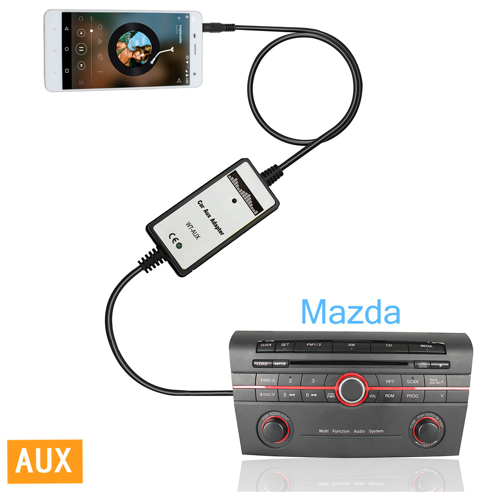 High Performance Auto Car Aux-in Cable Adapter MP3 Player Radio Audio Interface For Mazda