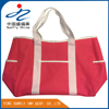 large capacity long handle with outside porket polyester tote shopping bag