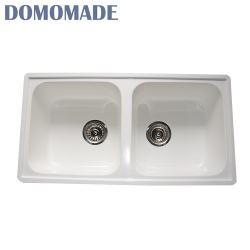 Wholesale matt white/glossy white foster apartment size double bowl granite kitchen sink