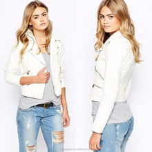 Cheap faux leather jacket wholesale 100% Polyester zip pockets long sleeve white motorbike woman leather jacket
