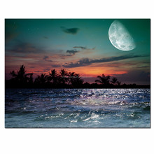 Moon Canvas Wall Art - Magical Evening on the Ocean Picture Giclee Print Artwork - Gallery Wrap Canvas Seascape Wall Art
