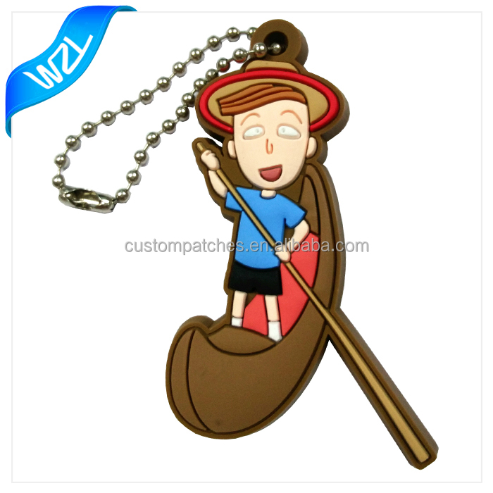 2016 New Style Customized 3D Rubber Soft PVC Keyring with Small MOQ