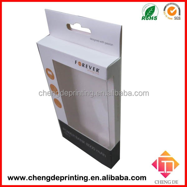 Logo printed clear window paper cell phone case box