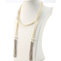 Wholesale Extra Long Gold Pearl Lariat
