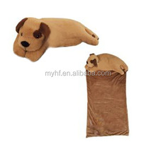 Super soft 100% safe materials plush dog animals pillow and blanket