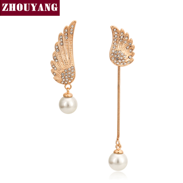 2016 New Style Imitation Pearl Asymmetric Drop/Dangle Wings  Gold Plated Stud Earrings Wholesale Top Quality ZYE803 ZYE804
