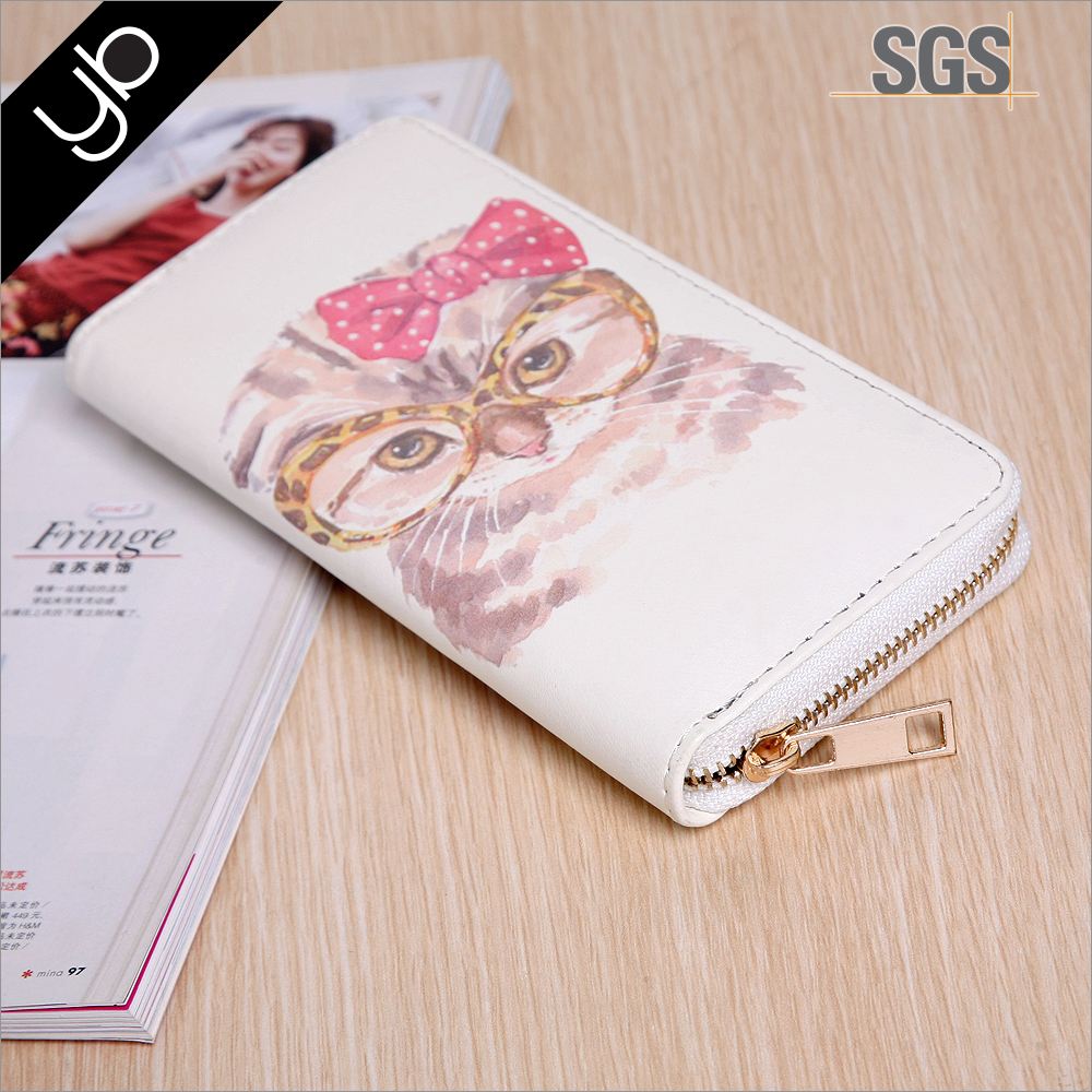 Fashion cat printed women slim card holder wallet leather wallet with meatl zip