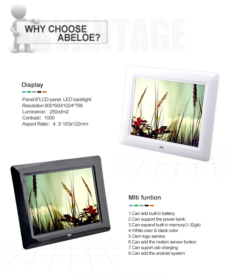 Factory Supply Desktop 8 Inch Digital Photo Frame