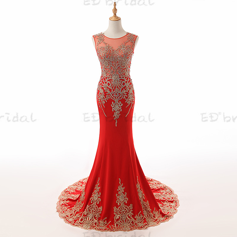 2018 Gorgeous Red Evening Dress With Gold Applique Beauty Patterns Long Women Dress Bridal Celebrity Gown