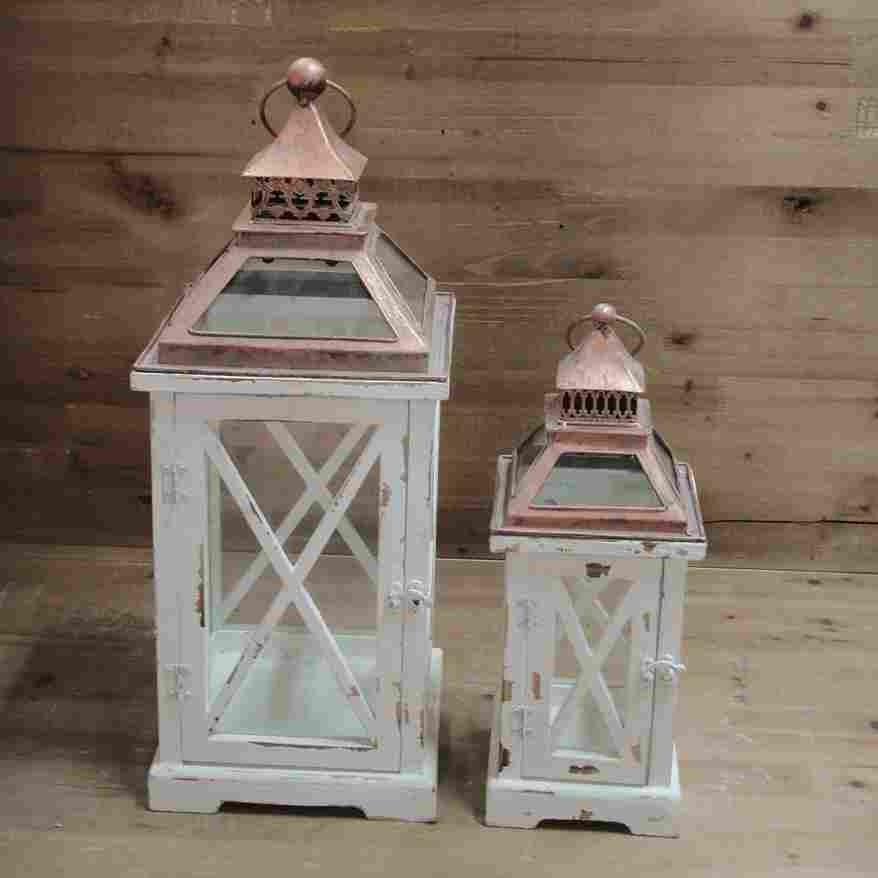 Blanc en bois lanterne table de coupe  vent bougie  ~ Coupe Vent En Bois