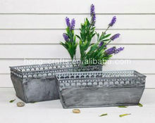 Hot!!! Tin Flower Container/Metal Trough /Trough Planter with Antique Effected HW1216
