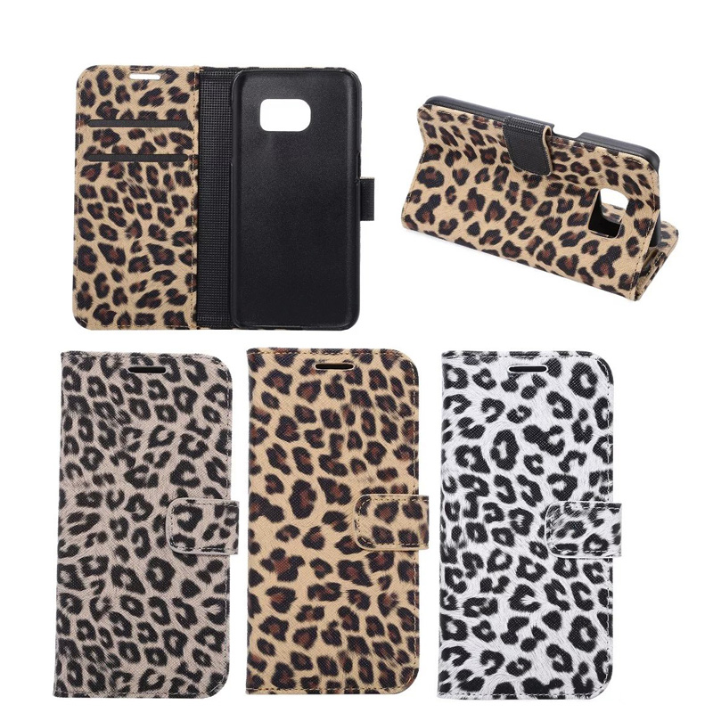 2016 Factory Direct Selling Leopard PU Leather Mobile Phone Case for Samsung Galaxy S7