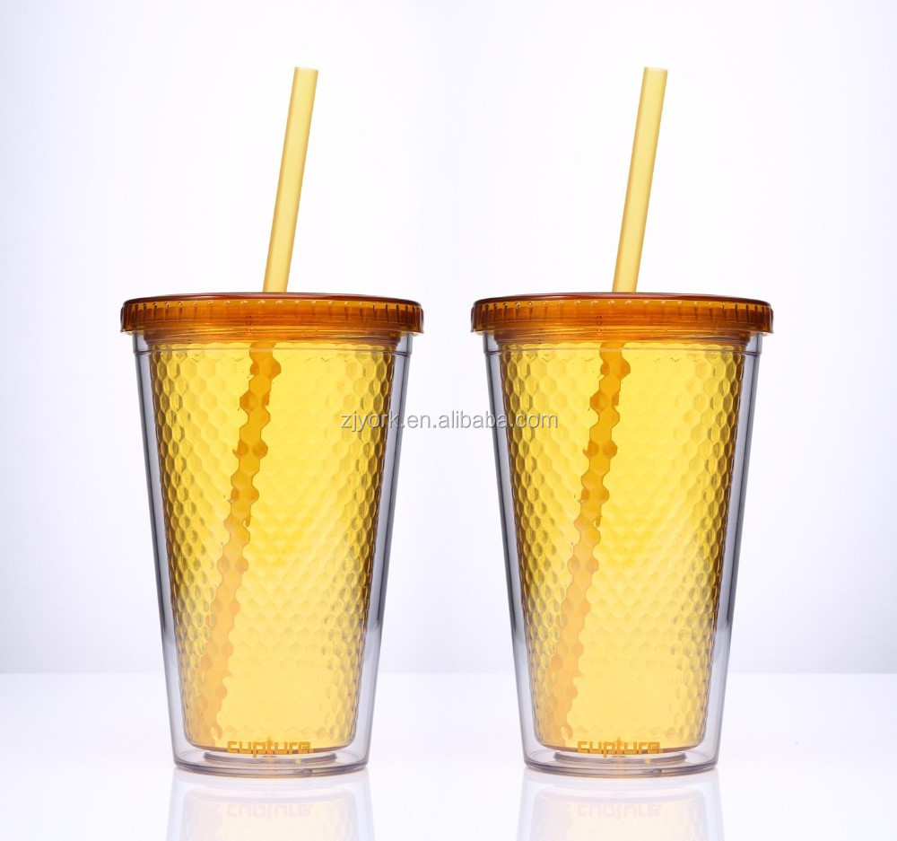custom double insulated plastic cups with straws 16oz