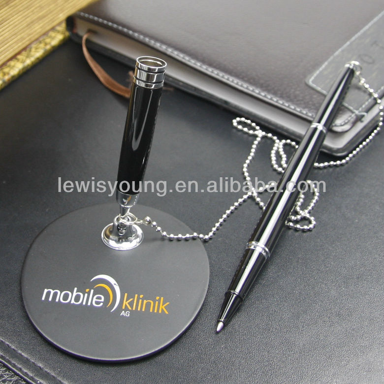 Bank table desk pen with chain customized logo on pen or pen base made of metal