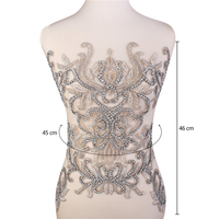 Designer Full body Rhinestone Applique Beaded Wedding Dress Bridal Gown Panel embroidery/engagement dress applique for dress