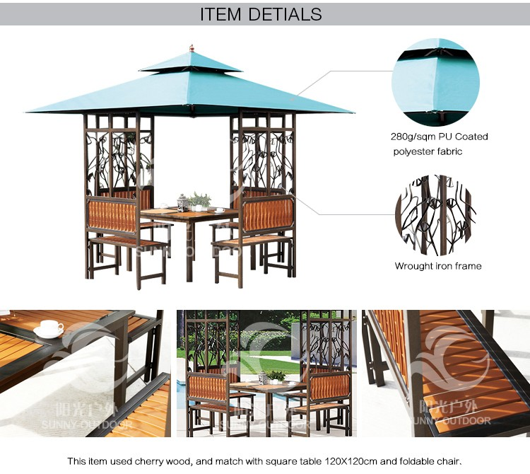 Factory Wholesale Wrought Iron Garden Gazebo With Table