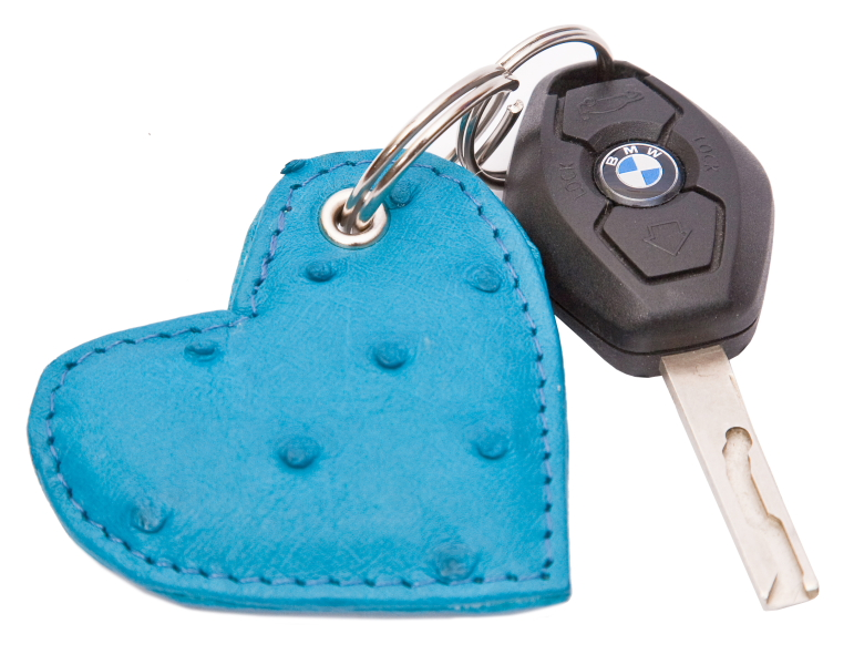 Genuine Ostrich lether Key Ring Heart