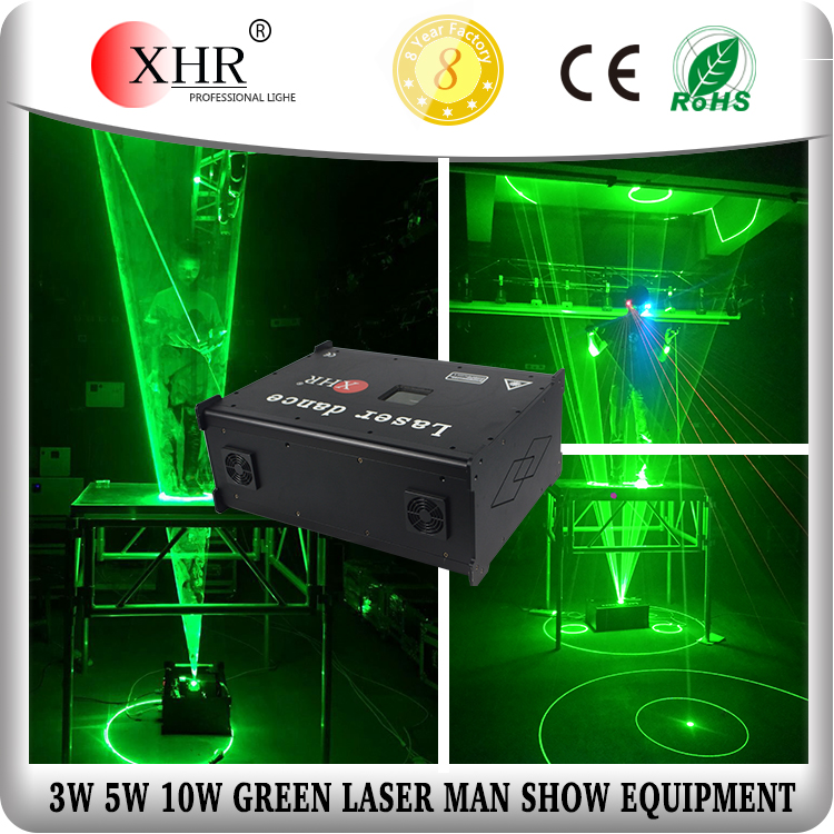 XHR 3 watt green 532nm indoor laser man show equipment
