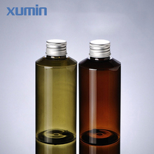 No leak design aluminum cap low price 100 ml green and amber cosmetic pet bottle