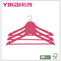 Fashional and fancy shirt and pants wooden clothes hanger in deep pink