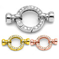 4 Sizes 3 Colors Zircon Micro Pave 925 Sterling Silver Round Spring Clasps Connectors With End Caps For Pearl Jewelry SC-CZ104