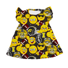 Lovely baby girl emoji prints tunics flutter sleeves pearl dress cute emoji package pattern kids football tunics