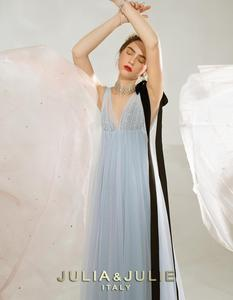JULIA&JULIE SPRING | SUMMER 2019 Sky blue collar heavy industry bead side velvet ribbon decoration mesh elegant dress skirt