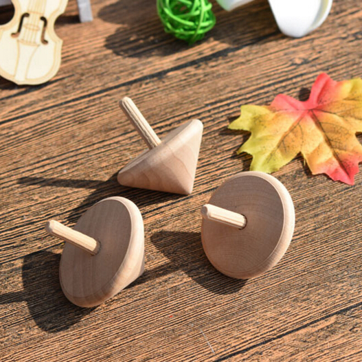 Classic Wooden Spinning Top in Natural Wood Toys 2 inch wood spinning top