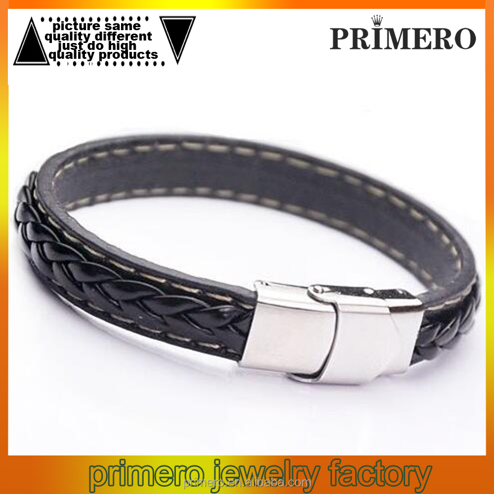 Top Quality Genuine Leather Men Stainless Steel Braid Bracelet With Magnetic Buckle Clasp