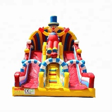 Manufacturer Commercial Clown bouncy castle inflatable slides for kids blow up bounce slide out door sport