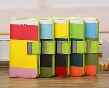 Contrast Color Pattern Pu Leather Case For Iphone 5C Hard Plastic Printing Blank Phone Case