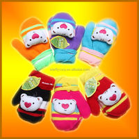 100% acrylic factory animal knitted mittens with string (ST-G376)