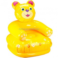yellow pvc inflatable bear-shape sofa for children , animal baby arm sofa chair, floating sofa bed cushion outdoor inflatable