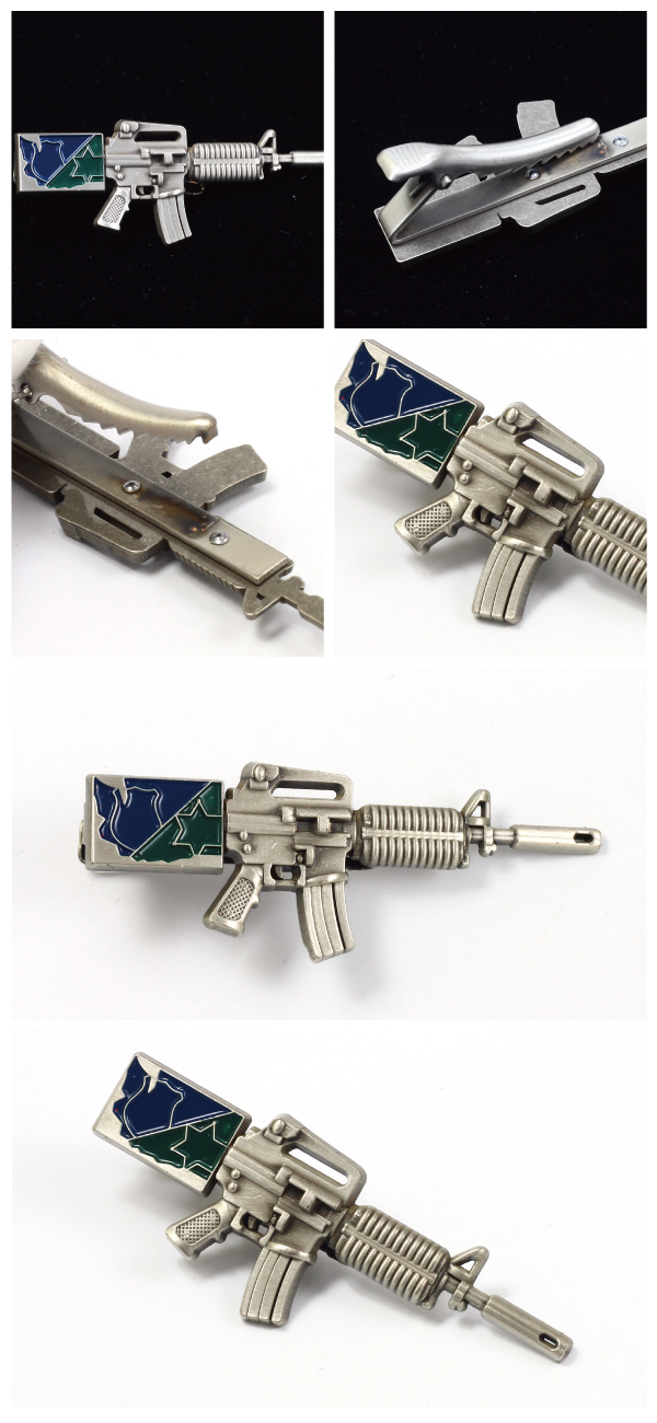 Creative design machine gun shape Soft Enamel Tie Clip/Tie Bar