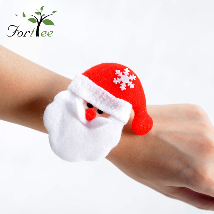 Wholesale cheap kids christmas gifts custom lucky wrist circle band slap bracelets