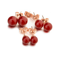 Hot sell China cheap jewelry red pearl earring holder design with 3 size to choose stick earring