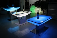Family Led Funiture Led Glowing Rectangular Glass Top Cube Dining Tables