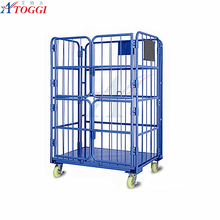 foldable storage metal roll container with 4 doors