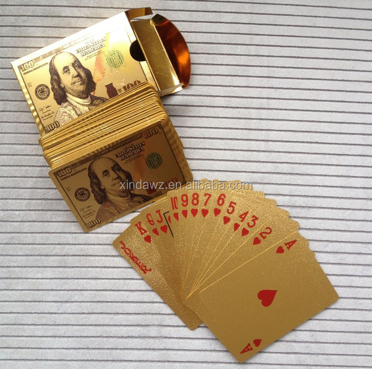 Dollar design gold foil playing cards with color