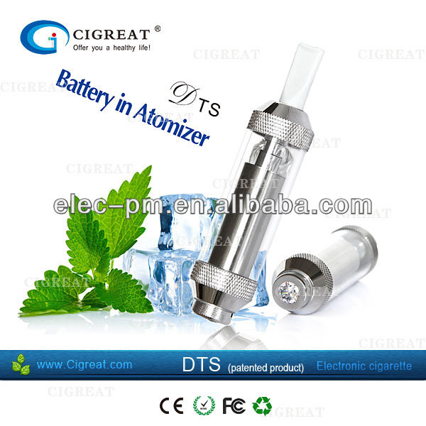 2013 new patent product electronic cigarette Cigreat DTS set with 350mah mini battery in atomizer