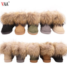 B054 Free Samples Classical Racoon Fur And Sheepskin Winter Cheap Russian Snow Winter Boots