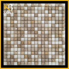 Dark Emperador mixed Yellow Travertine mosaic marble tile