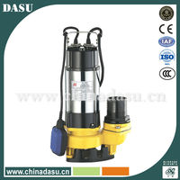 Stainless steel body/iron impeller 1HP sewage submersible pumps with AU/Euro Plug