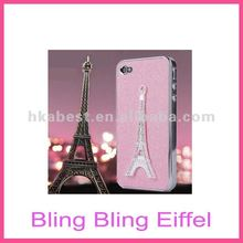 3D Bling Bling Crystal Diamond French Eiffel Tower Skin Case Cover for iPhone 4S/4