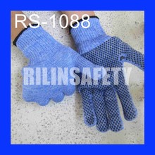 RILIN SAFETY blue color pvc gloves for industrial use ,pvc dotted anti-skid gloves ,Guangdong Supplier
