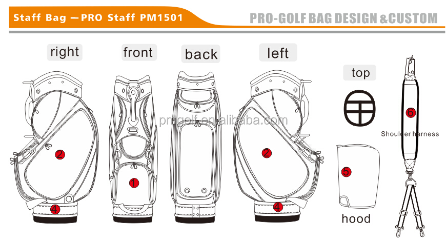 2016 custom pu leather golf staff bags, golf cart bags, golf bags stand with embroidery design, OEM & ODM Service Factory Outlet